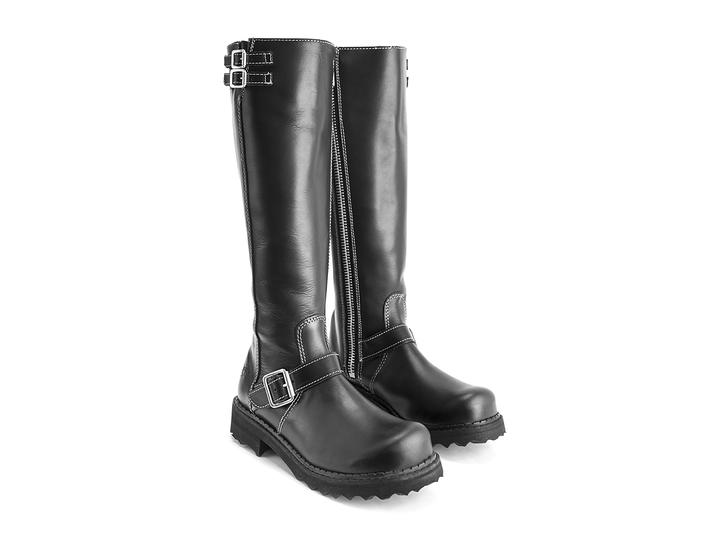 Bondgirl Black with White Stitch Tall boot with buckles