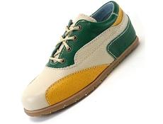 F10 Bone, Green and Yellow with Beige Stitch