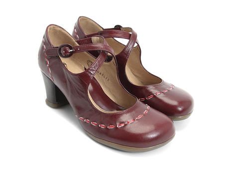 Malibran Wine Criss-crossed Mary jane Heel