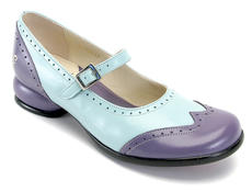 Kathy Mauve & Blue Exotic Low-Heeled Mary jane