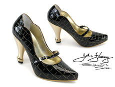 Pump Black with Gold Heel