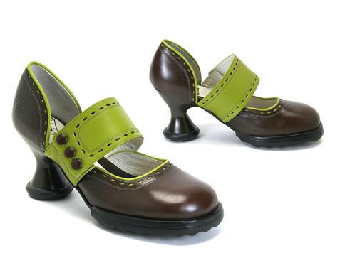 Zaza Brown & Green Wide strap mary jane