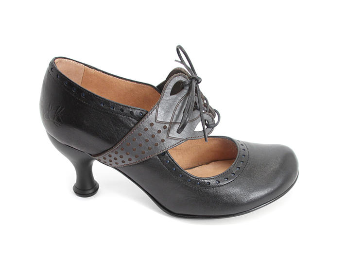 Mollie Johnson Black & Grey Lace-Up Mary Jane Heel