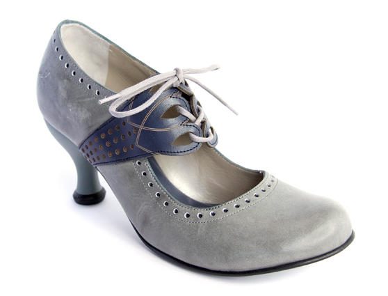 Mollie Johnson Gray & Blue Lace-Up Mary Jane Heel