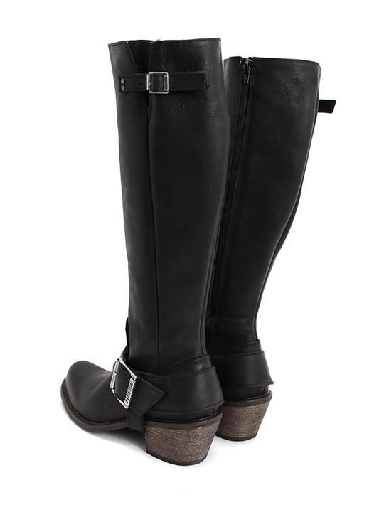 Luna Black Tall buckled boot