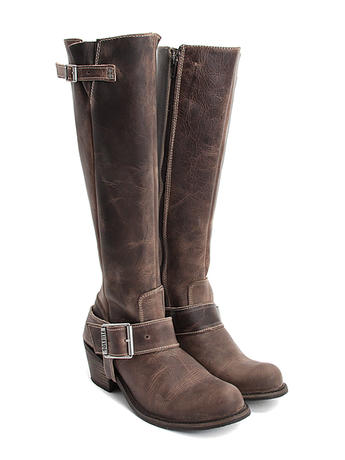 Luna Brown Tall buckled boot