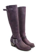 Luna Purple Tall buckled boot