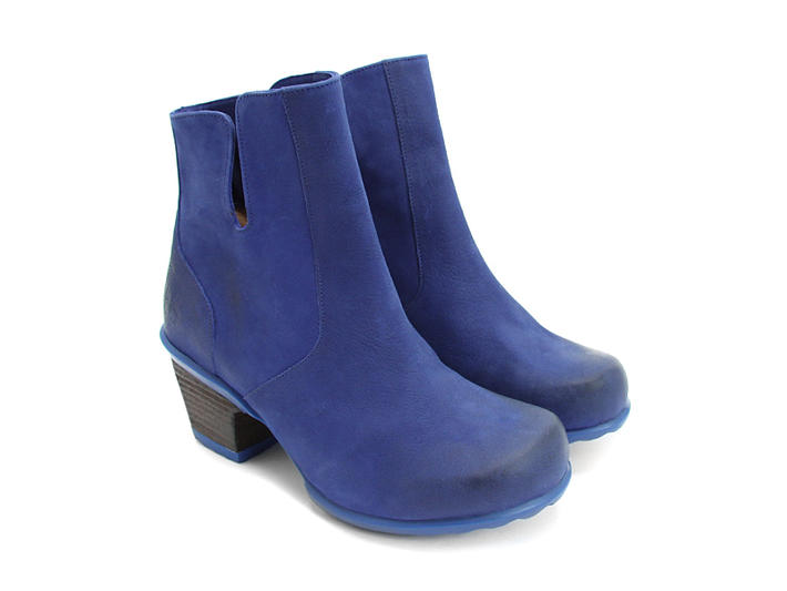 Rosy Blue Buffed Toe Leather Bootie