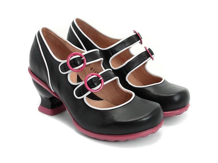 Liz Black Double Buckle Mary Jane Heel