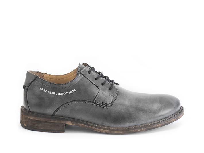 Grant Black Wash Casual Leather Derby Shoe