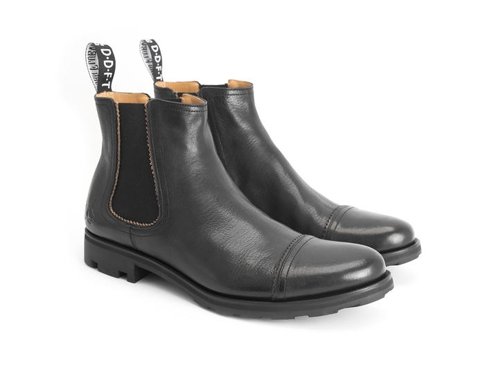 Nathan Black Leather Chelsea Boot