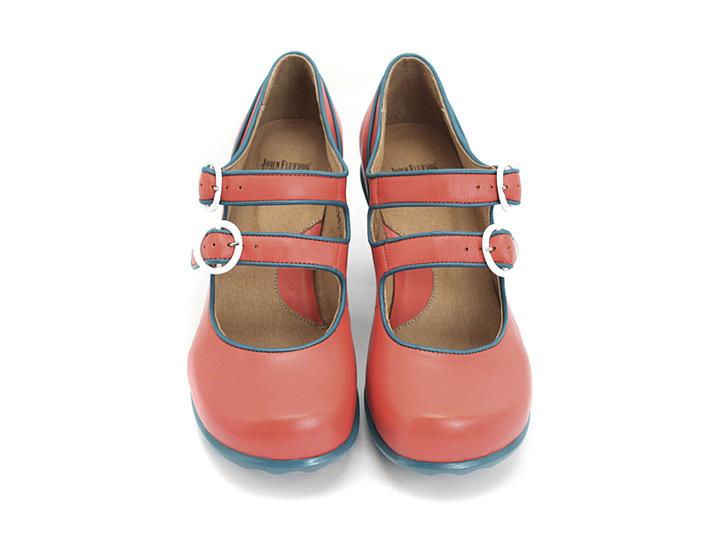 Liz Tomato & Teal Double Buckle Mary Jane Heel