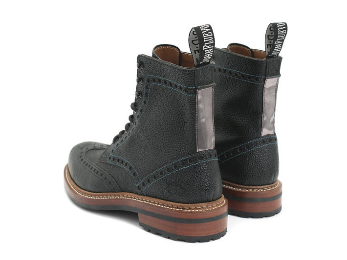 Newell (Unlined) Black Brogued Lace-Up Boot
