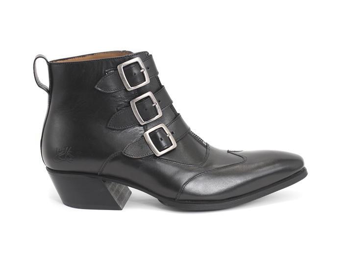 Jack: Men's Smooth Black Triple strap boot