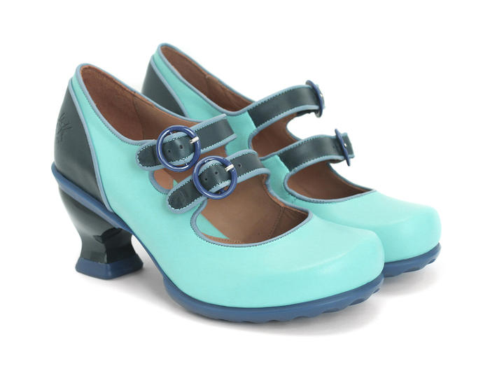Fluevog Shoes | Shop | Liz (Blue &amp Navy) | Double Buckle Mary Jane