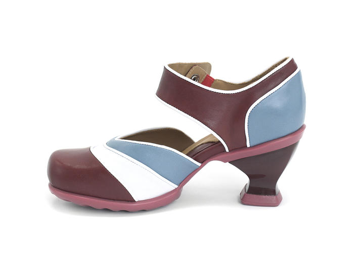 Sam Cherry, Blue & White Strapped Mary Jane Heel