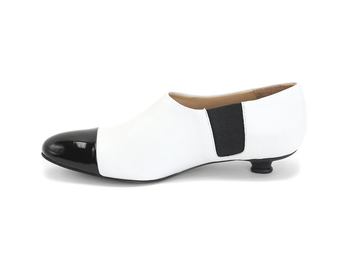 Gladice Black & White Slip-On Leather Kitten Heel