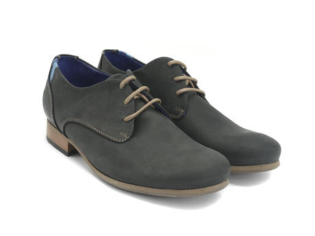 CBC: Men's Black Leather Leather & Suede Derby Shoe