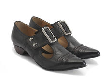 Pilgrim Black Buckled Victorian loafer