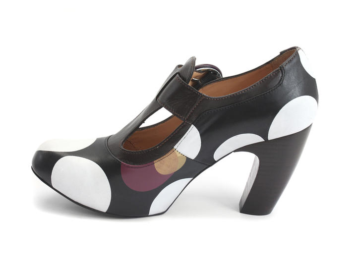 Arbus Dots Leather T-Strap Heel