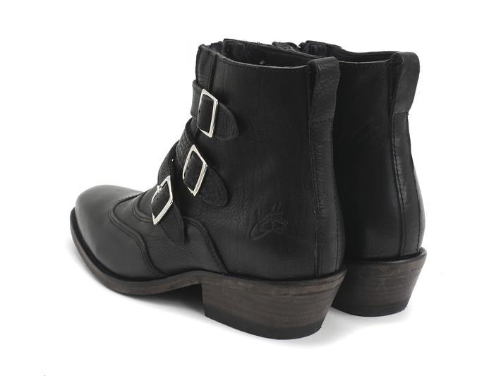 Jett Black Triple-Buckle Leather boot