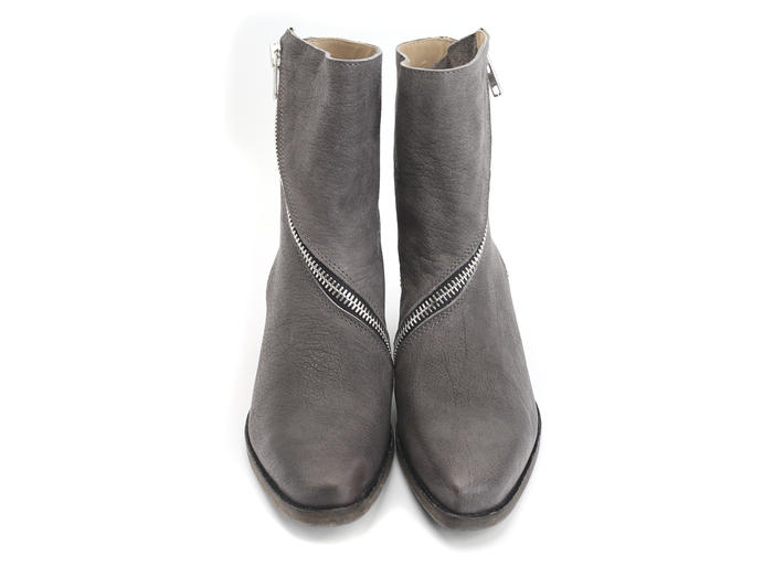 Skin Grey Spiral-Zip Leather Boot