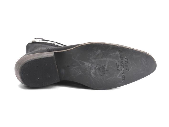 Skin Black Spiral-Zip Leather Boot