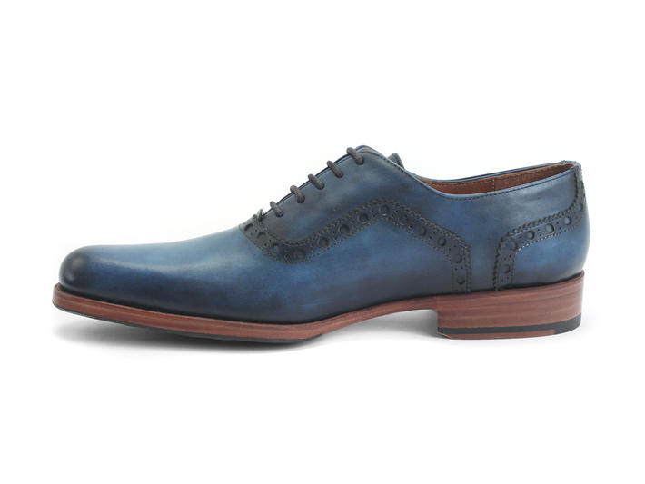 837 Granville Blue Brogued Leather Oxford