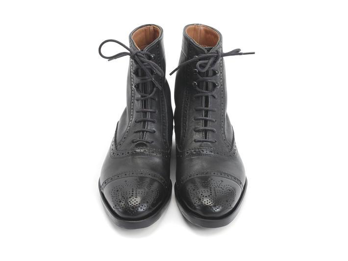 Hartford: Womens (Lined) Black Steel Flat Brogued Dress Boot