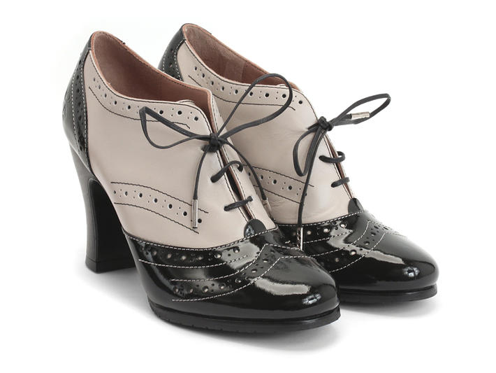 Fluevog Shoes | Shop | Heal (Black & Cream) | Brogued Lace-up Heel
