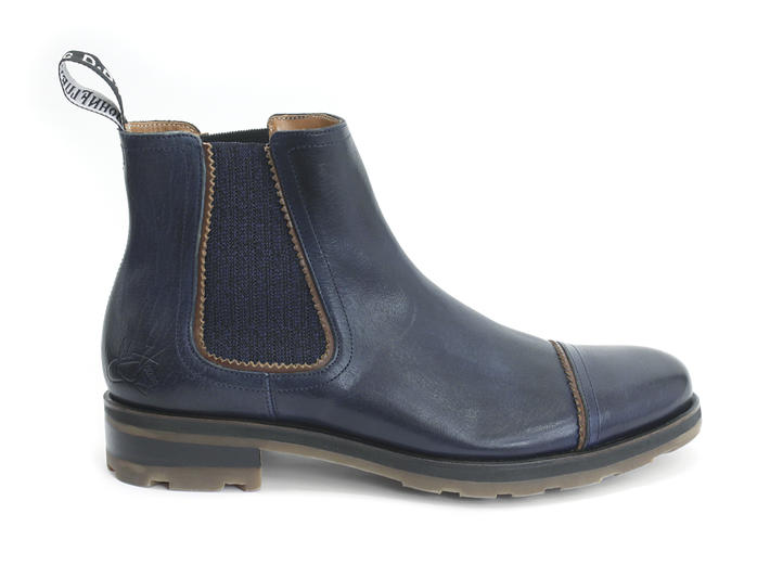 Nathan Blue Leather Chelsea Boot