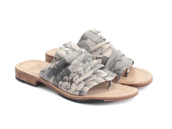 Amazon Grey Floral Slip-On Leather Sandal