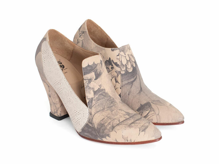 Kendra Grey Floral Pointed Toe Leather Heel