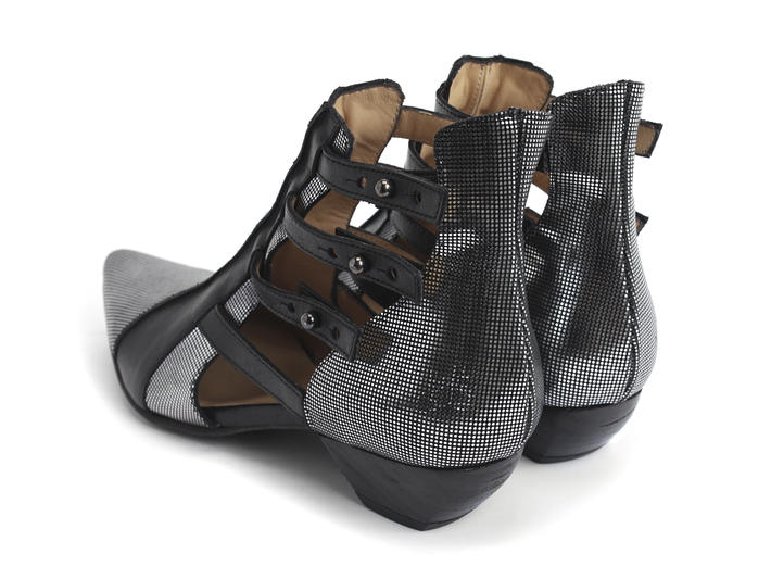 Bekkie Silver Strappy leather ankle boot
