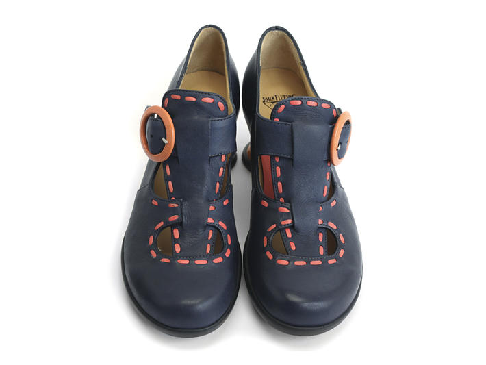 Enthusiast Navy & Orange Vintage style t-strap heel