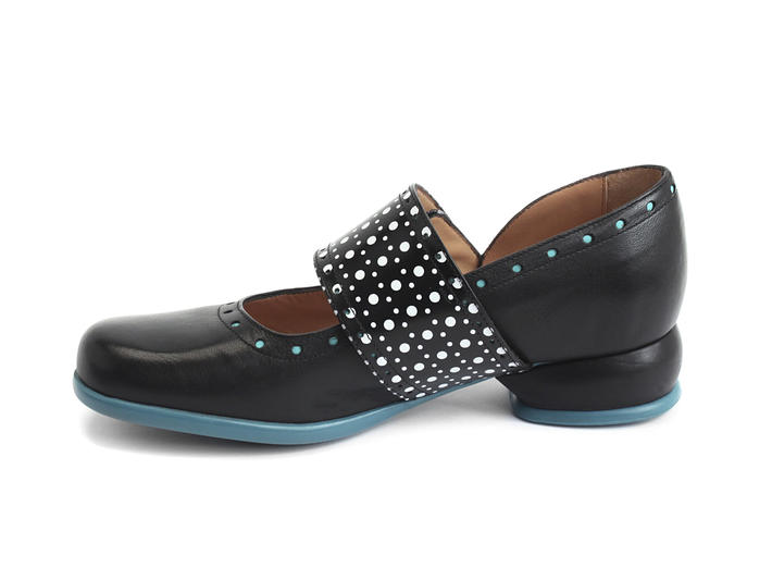Cleo Black & Dots Buttoned mary jane flat