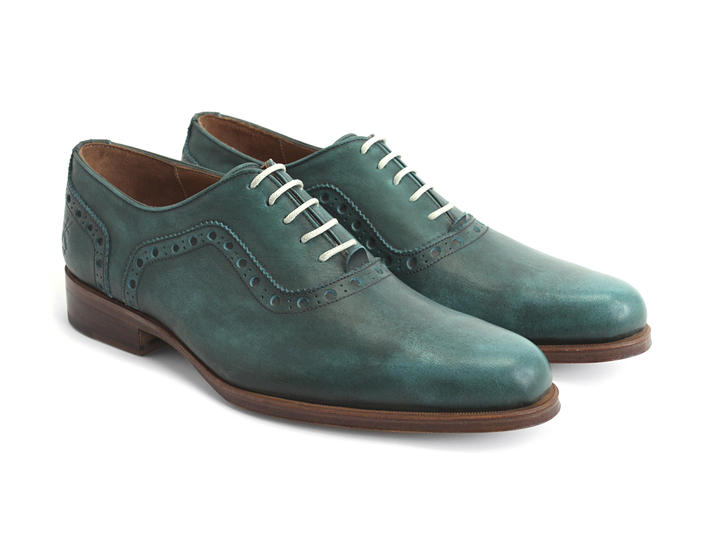 837 Granville Green Brogued Leather Oxford