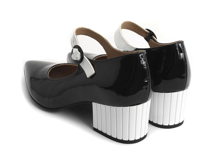 Vivian Black & White Block heeled mary jane