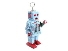 The Vogbot Blue & Red Custom wind-up robot