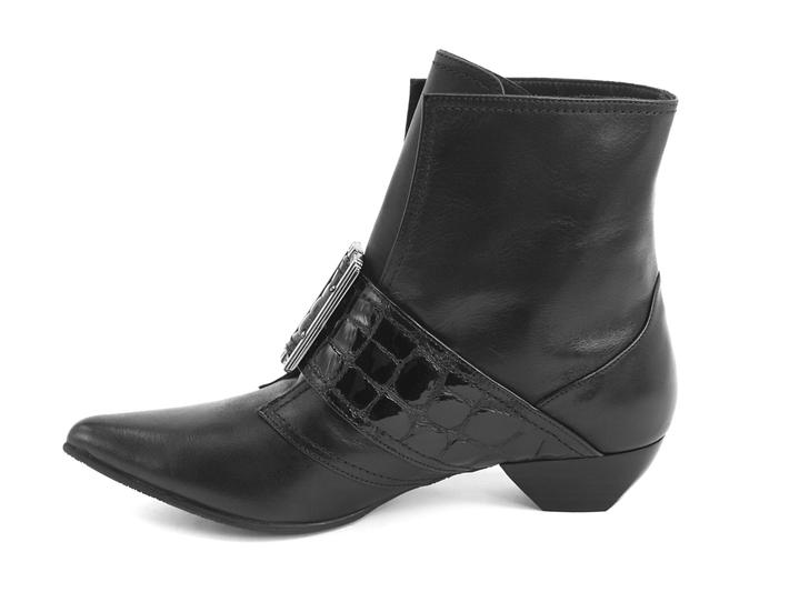 Cheryl Black Buckled boot with crocodile emboss