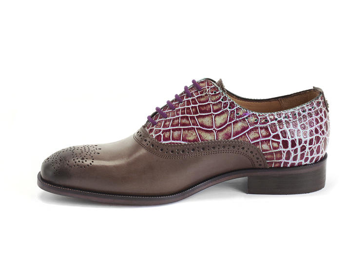 Damascus Grey & Purple Croc Classic brogued oxford