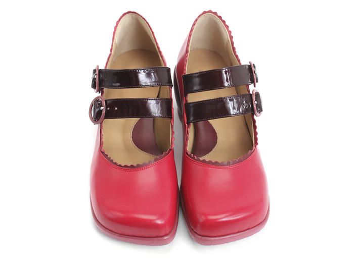 Margie Red & Pink Double-Strapped Mary Jane