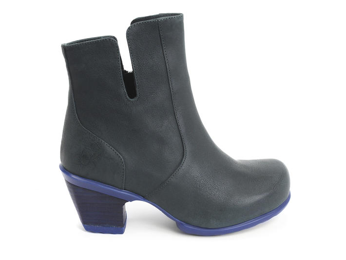 Rosy Green & Blue Buffed Toe Leather Bootie