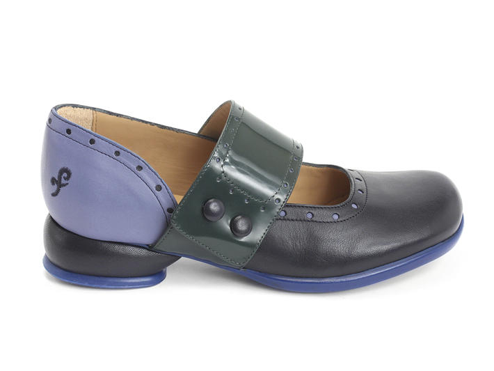 Cleo Blue & Green Buttoned mary jane flat