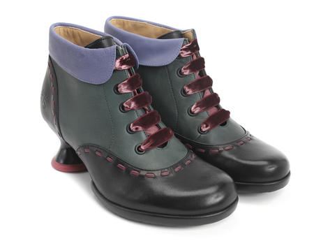 Investigator Green, Pink & Black Collared lace-up ankle boot