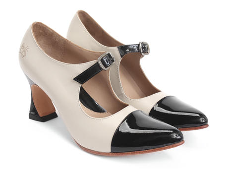 Malala Ivory & Black Patent toed mary jane