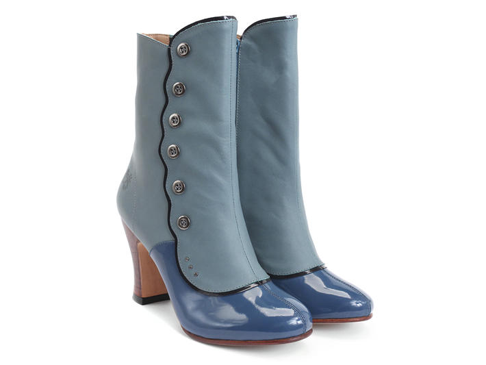 Ascension Blue Heeled boot with buttons