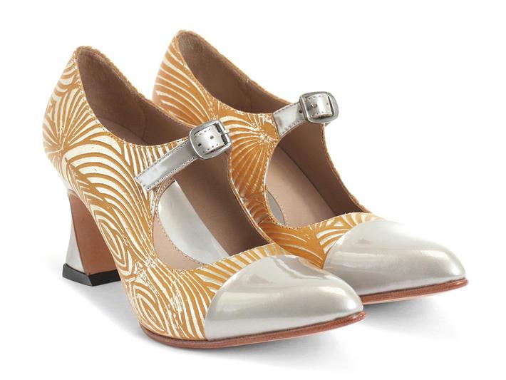 Malala Yellow/Silver Patent toed mary jane