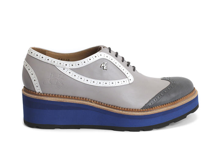 Sid Grey/Blue Platform brogue lace-up