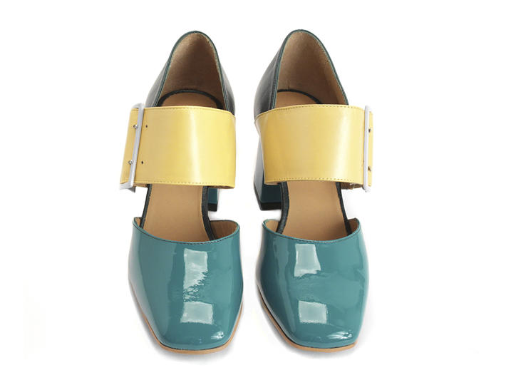Hermine Teal/Yellow Wide Strap Mary Jane